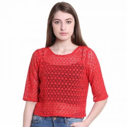 Littledesire Cotton Lace Red Solid Top