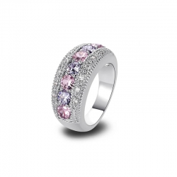 Littledesire Sterling Silver Round Cut Pink Purple CZ 925 Ring