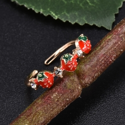 Sweet Fruit Red Strawberry Adjustable Rings