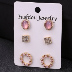 Pearl Crystal Bohemian Stud Earrings 3 pcs Set