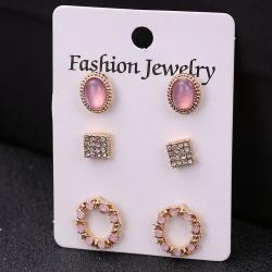 Pearl Crystal Bohemian Stud Earrings 3 pcs Set