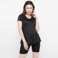 Women Frock Style Solid Black Shorts Swimsuit