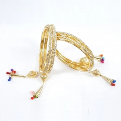 Golden Stone Color Latkan Bangles Set 4pcs
