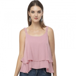 Frills Solid Sleeveless Tiered Ruffle Top