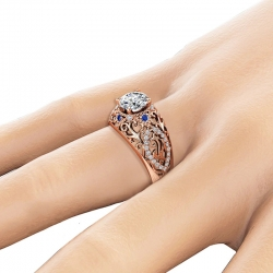 Hollow Flower Design Brilliant Cubic Zirconia Ring