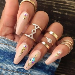 5 Pcs/Set Triangle Round Geometry Crystal Gem Golden Rings