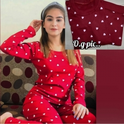 Heart Print Cotton Top & Pajama Night Suit For Girls