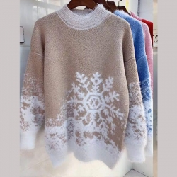 Round Neck Geometric Print Pullover Sweater