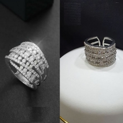 Silver Plated Crystal Zircon Finger Ring