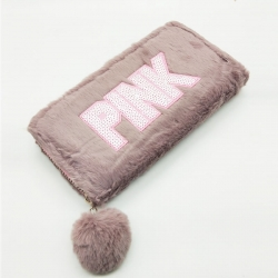Faux Fur Zipper Puff Ball Clutch Wallet