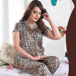 Leopard Print Top & Pajama Satin Night Suit Sleepwear