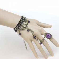 Black Lace Flower Vine Beads Bracelet With Rose Ring