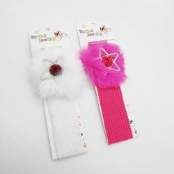 Star Fur Design Elastic Hairband For Babies Kids Girls 2 Pcs