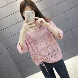 Designer Solid Hollow Out Loose Back Button Top