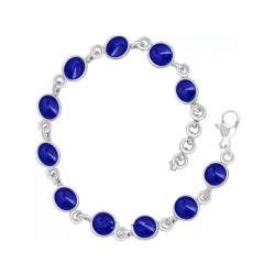 Plated Adorable Sapphire Blue Cats Eye Stone Bracelet