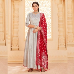 Littledesire Embroidered Gown With Banarasi Jacquard Dupatta