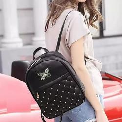 Pom-Pom Fur Ball Stylish PU Leather Black Backpack