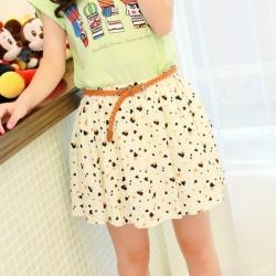 Heart Pattern Chiffon Pleated Skirt Waist 26 to 32