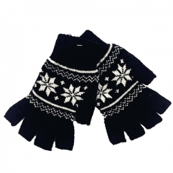 Snowflakes Knitted Girls Half Finger Winter Gloves