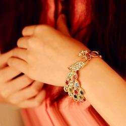 Romantic Fashion Rhinestone Colorful Peacock Bracelet