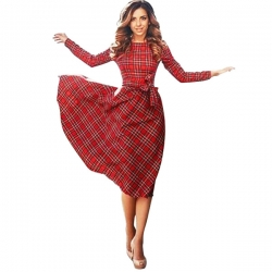 Red Plaid English Maxi Dresses