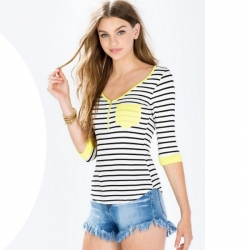 Striped Zipper V-Neck European Top