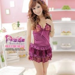 Sexy Lingerie Dress Underwear Purple Robe+G-string