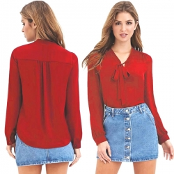 Fashion Casual Vogue Autumn Full Sleeve Bow Solid Color V-Neck Top