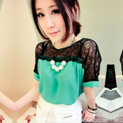 Chiffon Lace Short Sleeve Elegant Casual Fashion Green Top
