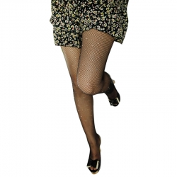 Rhinestone Fishnet Elastic Slim Pantyhose