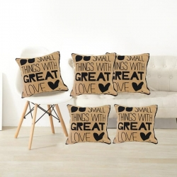 Small Thing with Great Love Jute Cushion Covers