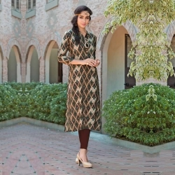 Brown Printed Rayon Kurta with Mandarin Collar