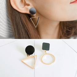 Triangle Round Geometric Asymmetric Black Earrings