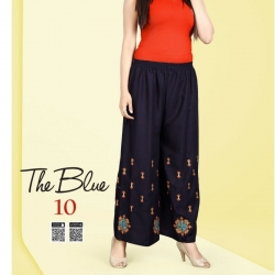 Littledesire Blue Embroidered Straight Palazzo
