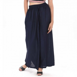 Littledesire Navy Blue Straight Palazzo With Side Pocket