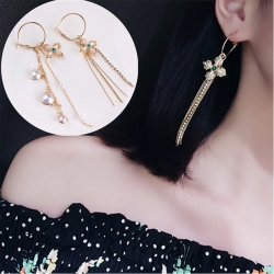 Littledesire Asymmetric Flowers Stylish Pearl Long Earrings