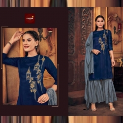 Littledesire Embroidered Floral Silk Kurta With Sharara & Dupatta