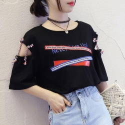 Littledesire Round Neck Hollow Out Loose T-shirts
