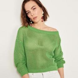 Littledesire Green O-Neck Hole Knitwear Sweater