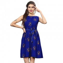 Littledesire Boat Neck Floral Print Blue Crepe Dress