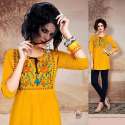 Littledesire Embroidered Work Yellow Short Kurti Top