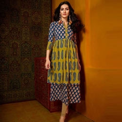 Littledesire Printed Flared Long Cotton Kurta