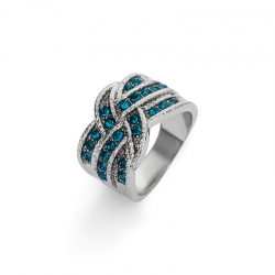 Littledesire Fashion Round Cut Blue Crystal Ring