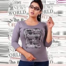Littledesire Printed Cotton Women Grey T-Shirt