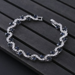 Littledesire Blue & Black Crystal Rhinestone Silver Bracelet