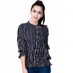 Littledesire Bishop Sleeve Striped Printed Top