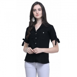 Littledesire Rayon Plain Casual Black Women Shirt