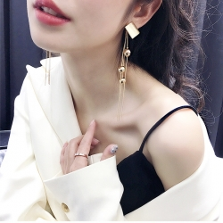 Latest Design Gold Plated Tassel Long Earrings
