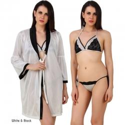Littledesire Bra & Thong Satin Night Robe 3 Pcs Set