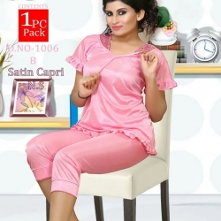 Satin Top & Capri Sleepwear Set for Girls